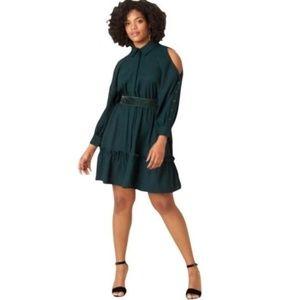 ELIZA J GREEN KNEE LENGTH COLD SHOLDER DRESS 4